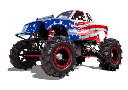 Illustration pour Vector Cartoon Monster Truck isolated on white background - image libre de droit