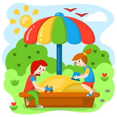 Ilustración de Children playing in the sandbox. Cartoon style vector illustration. Suitable for children book decor - Imagen libre de derechos
