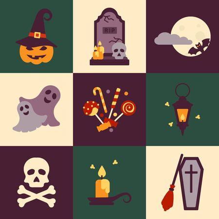 Illustration pour Halloween concepts set in flat style - image libre de droit