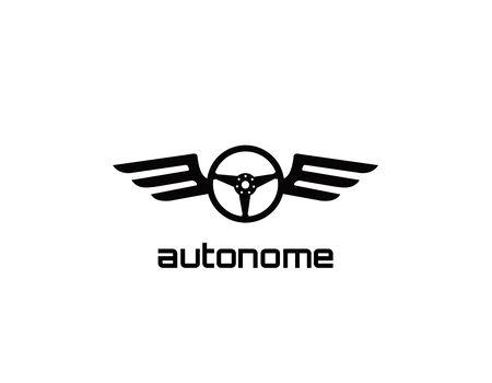 Illustration pour Atonomy, black steering wheel wings - image libre de droit