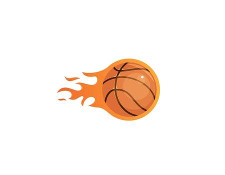 Illustration pour Basketball with flames logo design - image libre de droit