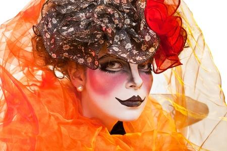 Photo pour woman mime with theatrical makeup - image libre de droit