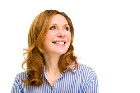 Smiling happy  woman. Isolated over white background