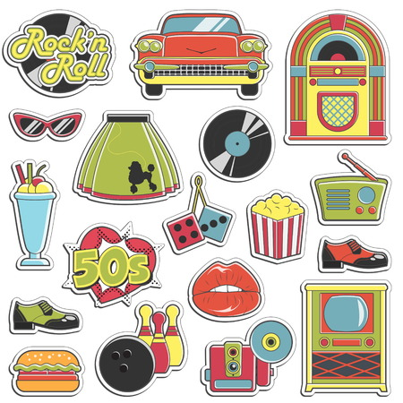 Collection of vintage retro 1950s style stickers that symbolize the 50s decade fashion accessories, style attributes, leisure items and innovations.