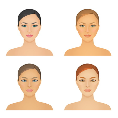 Ilustración de Human appearence information chart showing various kinds of women looks color types, hight and low contrast types, various skintones, hair and eyes. - Imagen libre de derechos