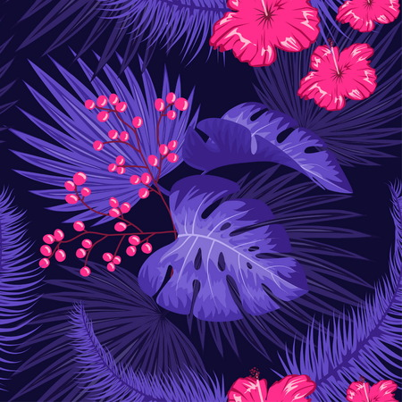 Illustration for UV ultra violet luminous neon light effect pattern. Seamless repeating jungle rainforest plants, flowers and fern background, retro techno acid styling. - Royalty Free Image