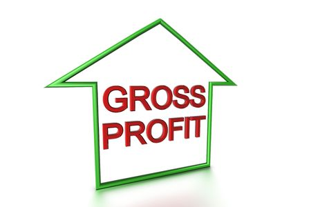 Gross profit insie outline shape of a house which lookes like an arrow on white background