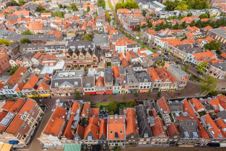 Aerial view of the historic city Delft in The Netherlands