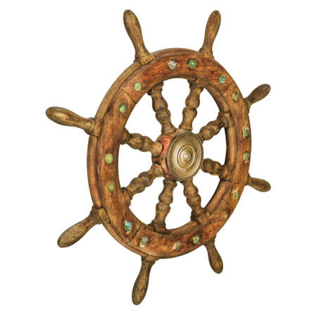 Photo pour Vintage wooden ship steering wheel isolated on a white background - image libre de droit