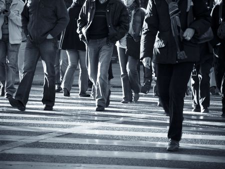 Photo for Urban scenes, Pedestrians crossing the street. - Royalty Free Image