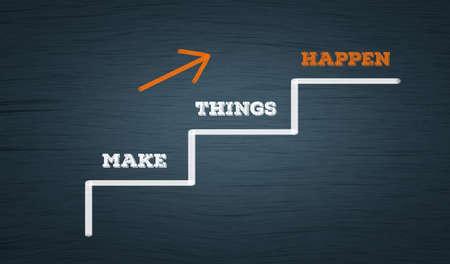 Photo pour Make Things Happen. Business growth concept in Ascending stairs path with upward arrow - image libre de droit