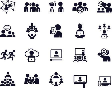 Illustration pour Influence Marketing Icons - image libre de droit