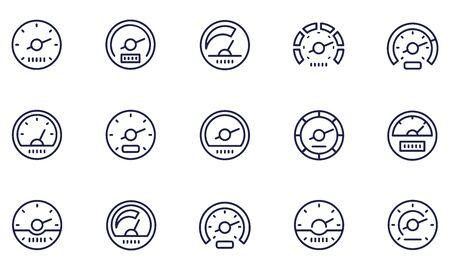 Illustration pour Speedometer icon set - image libre de droit