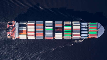 Photo for Aerial view of container ship sailing in sea - Royalty Free Image