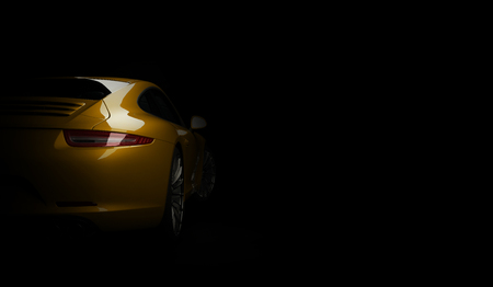 Foto per Super fast expensive car coupe on dark background. 3d render - Immagine Royalty Free