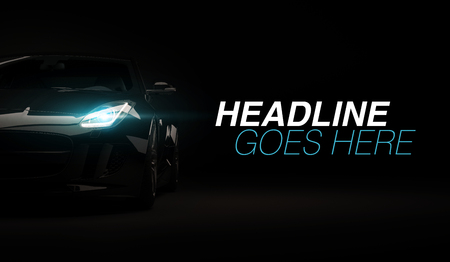 Photo for Stylish fast sport car on a black background with led lights on. Futuristic modern vehicle head light xenon on dark. 3d render - Royalty Free Image
