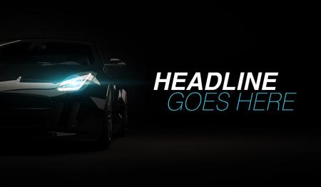 Foto de Stylish fast sport car on a black background with led lights on. Futuristic modern vehicle head light xenon on dark. 3d render - Imagen libre de derechos