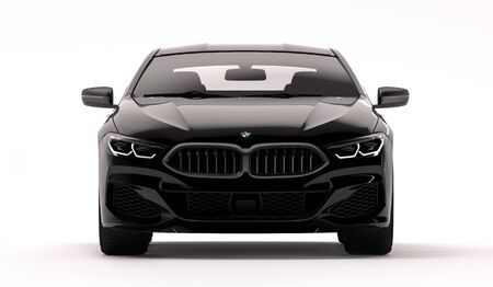 Photo pour Kazakhstan, Almaty - February 02, 2020: All-new BMW 8 Series Coupe isolated on white background. 3d render - image libre de droit