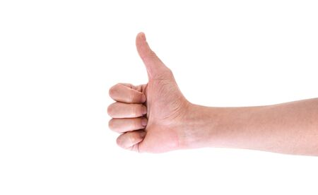Hand with thumb up isolated on white