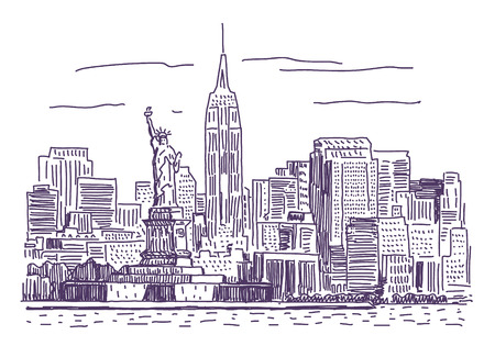 New York simple drawing illustration