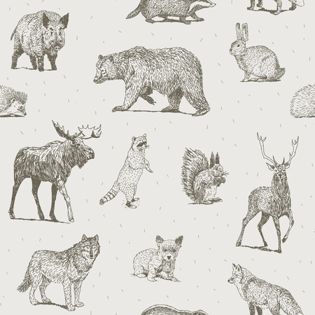 Illustration for Seamless pattern with different hand drawn animals - Royalty Free Image