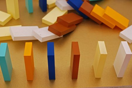 colorful domino card on the table
