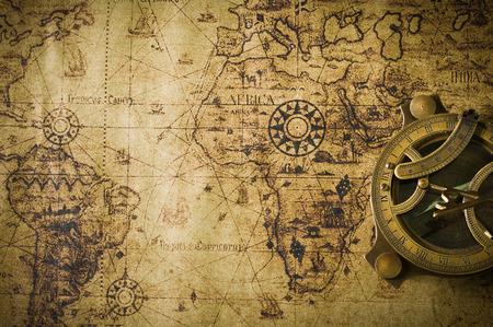 Foto de old map with compass  - Imagen libre de derechos