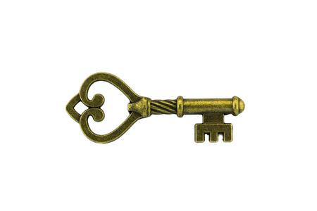 vintage key on white backgrond