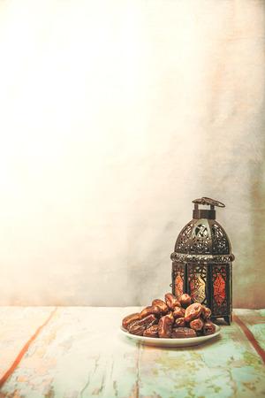 Foto de date palm fruit or kurma , ramadan food , image Vintage style . - Imagen libre de derechos