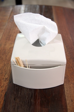 The White Box of tissues on table