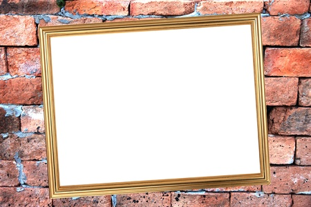 The Gold frame on Brick Background of stone