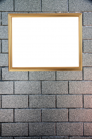 The Gold frame on Background of stone