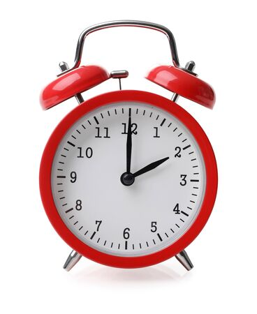 Foto de Red alarm clock set at two isolated over white background close-up with clipping path - Imagen libre de derechos
