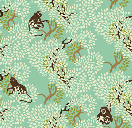 Monkeys And Trees Pattern