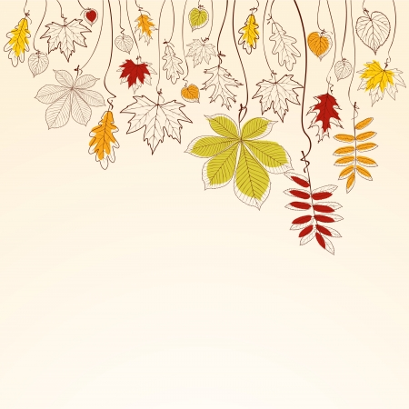 Hand drawn autumn falling leaves background