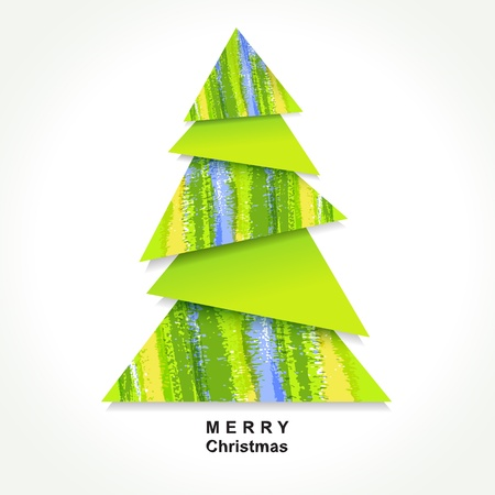 Origami Christmas tree made of pieces of color paper.