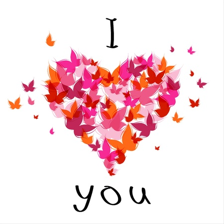 Lettering stylish text I love you with butterfly. EPS10