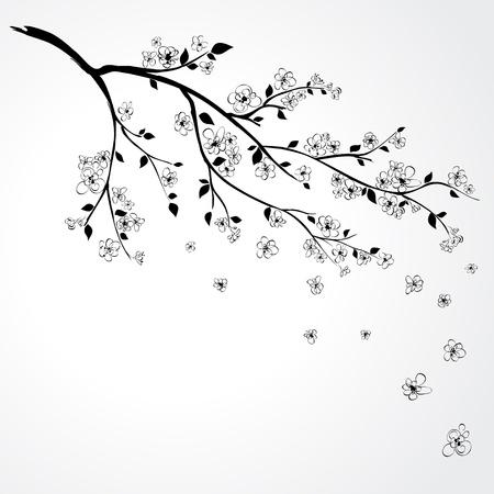 Illustration of flowering branch of Sakura with flying petals
