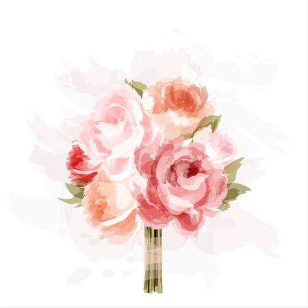 Romantic background with bouquet of peonies  All elements are separate