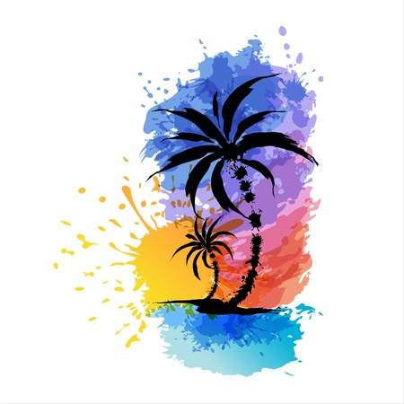 Illustration for Tropical background with palms  Sunset - Royalty Free Image