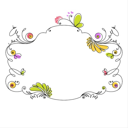 Decorative floral frame on white background