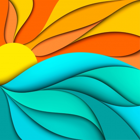 Sunset  Sunrise  Abstract sea waves background