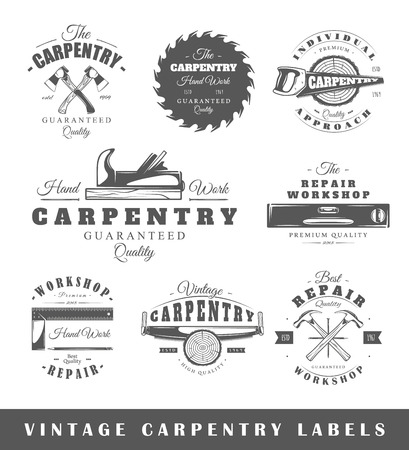 Set of vintage labels carpentry. Posters, stamps, banners and design elements. Vector illustration