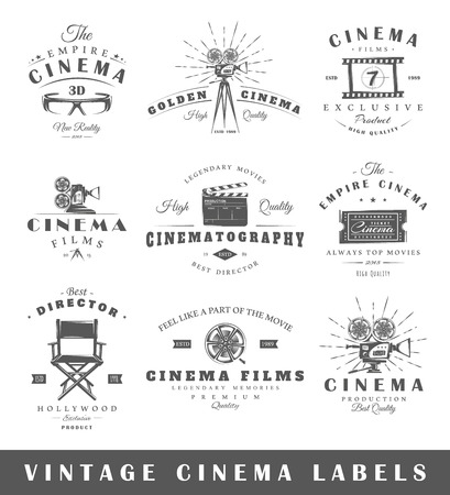 Photo for Set of vintage cinema labels. Posters, stamps, banners and design elements. Vector illustration - Royalty Free Image