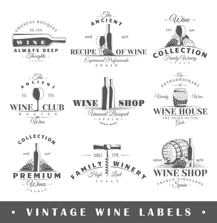 Illustration pour Set of wine labels. Elements for design on the wine theme. - image libre de droit