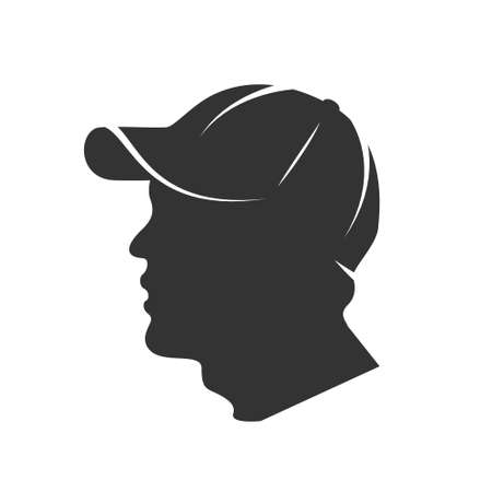 Illustration for Silhouette of a man's head in a cap isolated on a white background. Vector illustration - Royalty Free Image