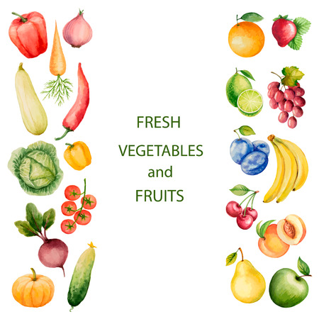 Set of watercolor vegetables and fruits.