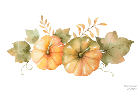 Watercolor vector autumn bouquet of leaves, branches and pumpkins isolated on white background.