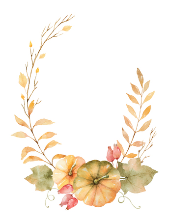Watercolor vector autumn wreath of leaves, branches and pumpkins isolated on white background.