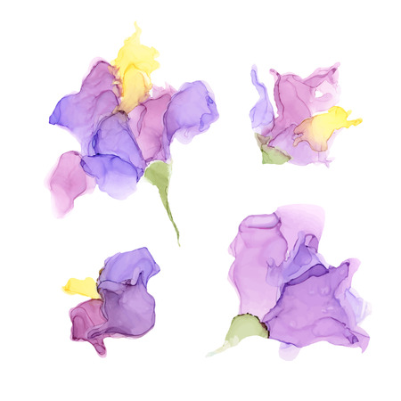 Illustration pour Abstract color alcohol ink flowers isolated on white background . Marble style. Hand painted vector illustration for your design. - image libre de droit